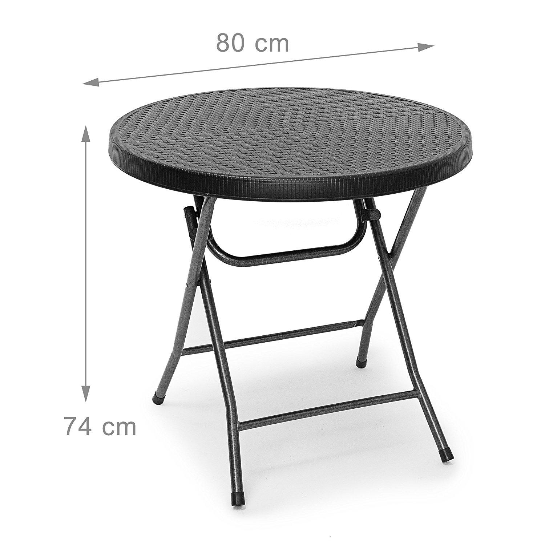 relaxdays gartentisch klappbar bastian rund hbt 74 x 80 x 80 cm klapptisch. Black Bedroom Furniture Sets. Home Design Ideas