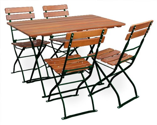 biergartengarnitur 1x tisch 120x70 cm 4x stuhl euroliving edition classic ocker gr n. Black Bedroom Furniture Sets. Home Design Ideas