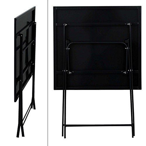 metall klapptisch 60x60cm schwarz beistelltisch balkontisch klapptisch. Black Bedroom Furniture Sets. Home Design Ideas