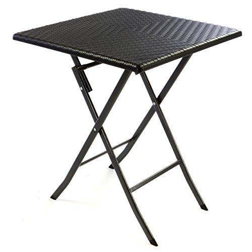 Gartentisch klappbar wetterfest  ᐅ Tisch in Rattan-Optik Balkontisch Gartentisch Klapptisch schwarz ...